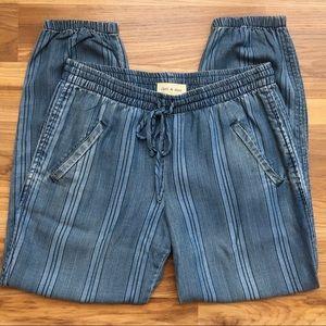 Cloth & Stone Chambray Striped Jogger Pants